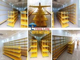 Dự án lắp đặt giá kệ siêu thị màu vàng tại Con Cuông Nghệ An