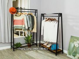 Kệ treo quần áo 1 tầng có mặt gỗ