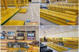 Những mẫu kệ trưng bày màu vàng độc lạ, ấn tượng cho siêu thị điện máy
